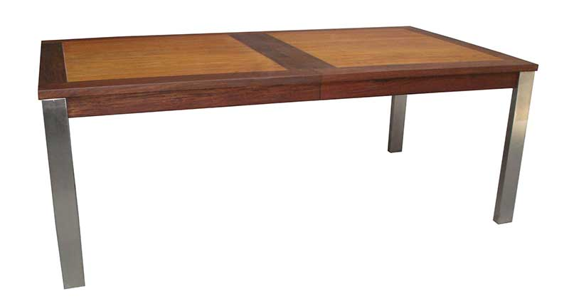 Expandable rosewood dining table with stainless legs