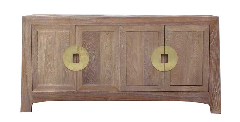 Contemporary Chinese teak cabinet with lime-wash finish
