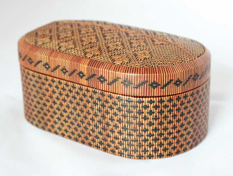 Finely woven Lipao grass small container, southern Thailand