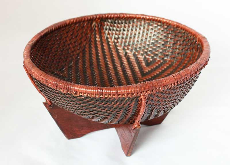 Ethnic Karen woven Calathea grass basket, Mae Hong Son