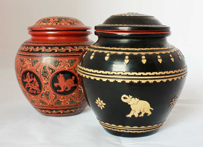 Lacquerware storage containers from Myanmar
