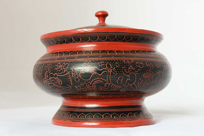 Traditional lacquerware container, Myanmar