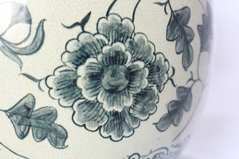Floral details on reproduction of Sukhothai-era vase, northern Thailand