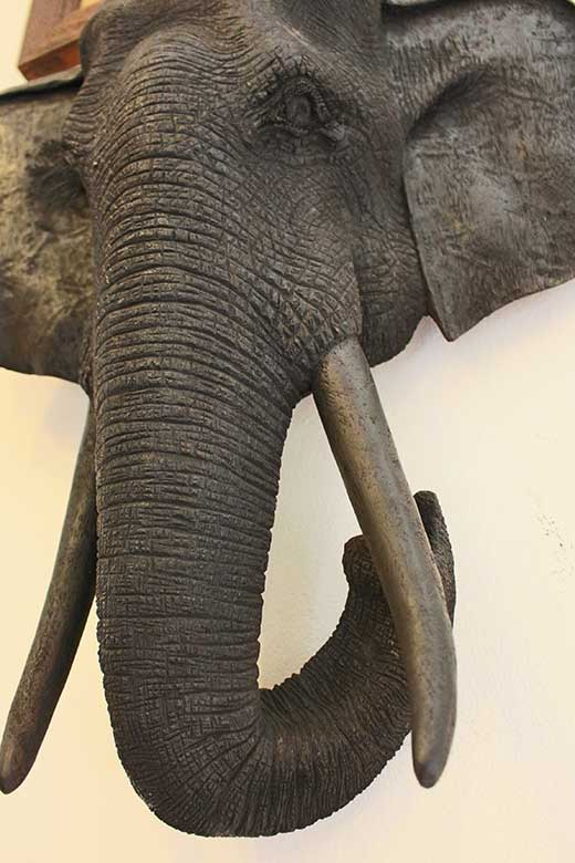 Phet Viriya-signed carved teak elephant head