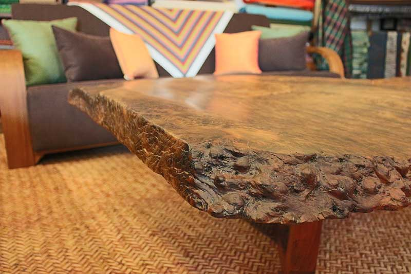 Detail of maka burl coffee table