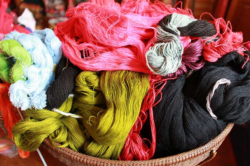 Display of colorful cotton weaving yarn
