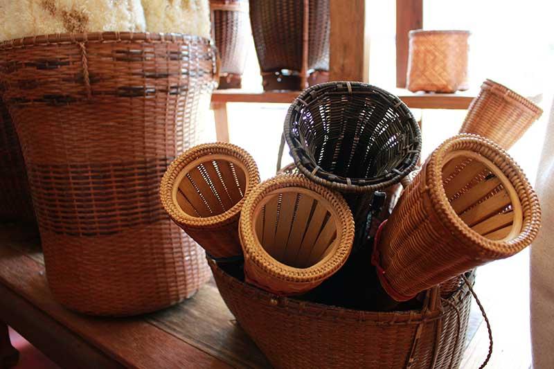 Selection of woven bamboo machete sheaths