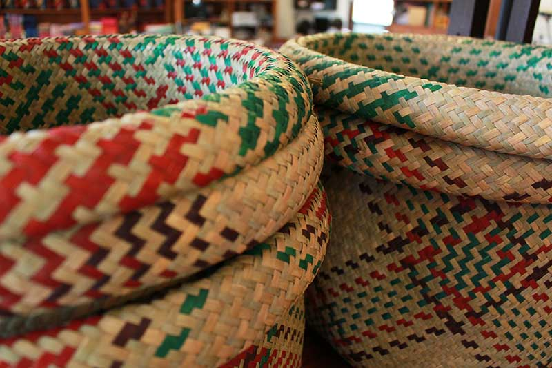 Soft multipurpose woven sedge rush basket, Narathiwat