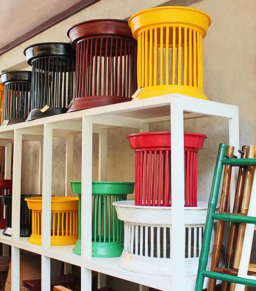 Colorful bamboo Kantok serving/side tables in various sizes, Chiang Mai