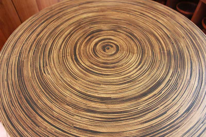 Spiral bamboo tabletop with clear lacquer finish, Chiang Mai