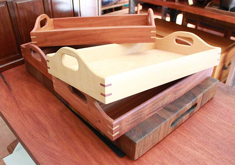 Handmade beechwood and rosewood serving trays with colored spline miter joints