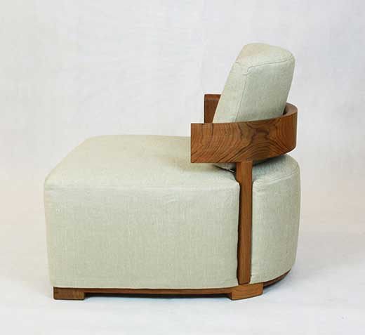 Solid teak curved-back slipper chair