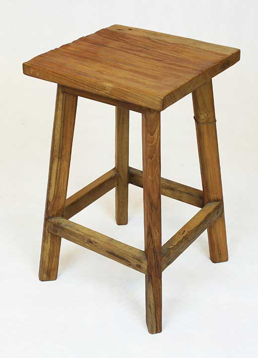 Distress reclaimed teak stool