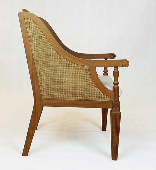 Teak armchair with rattan upholstery panels