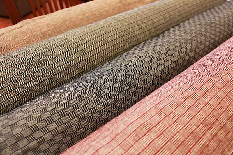 Rolls of checkered twill-woven cotton