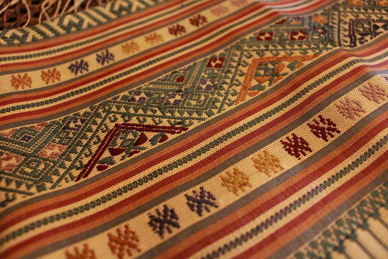 Discontinuous supplementary weft brocade-woven shawl/runner from Laos