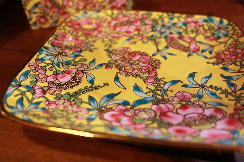 Handpainted underglazed boneware by Thai artist