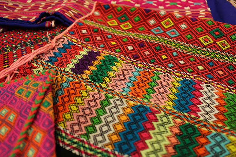Brocade-woven multicolored Karen poncho