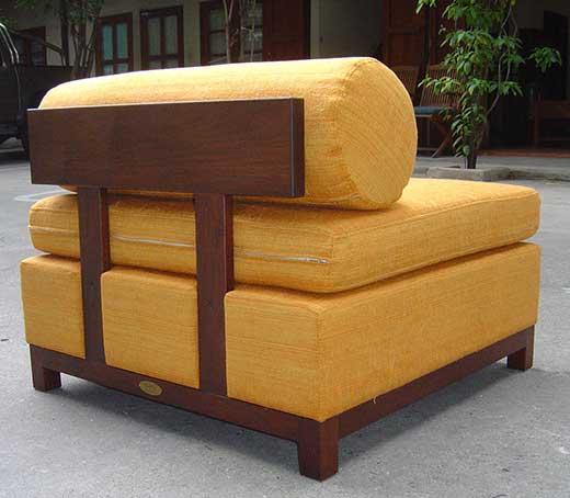 Solid teak straight-back slipper chair