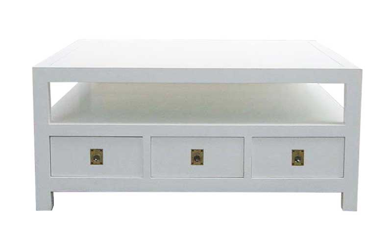 White-finish hardwood coffee table with drawers and shelf