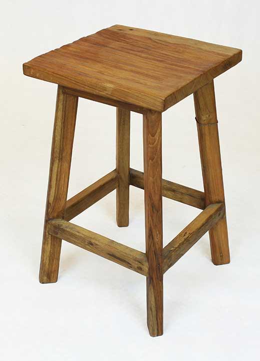 Distress reclaimed teak stool